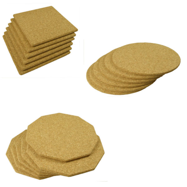 6 Natural Cork Table Mats 25cm